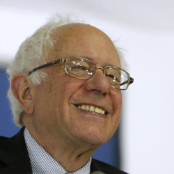 Sen. Bernie Sanders smiles as he speaks during a rally in Wisconsin in April. (AP Photo/Charles Rex Arbogast)