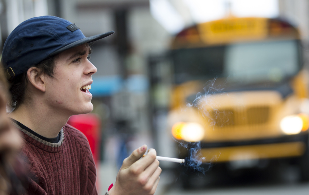 Smokers including Kincaid Pearson, 20, of Portland could be locked out of buying cigarettes in the city if the council raises the minimum age to 21.