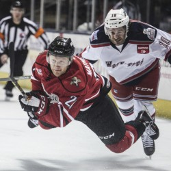 Mike Matheson, left, will be on the ice again Thursday night for the Portland Pirates at Hershey after playing five games for the Florida Panthers in the NHL playoffs.