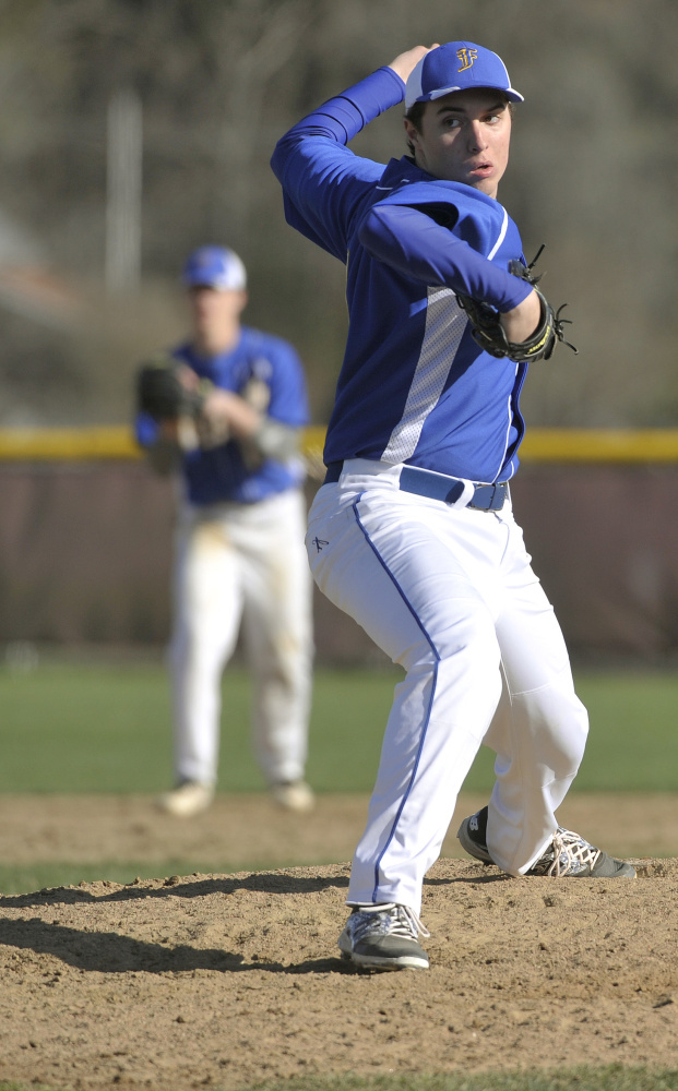 Falmouth left-hander Cam Guarino struck out two but used his defense well while limiting Cape Elizabeth to five hits and two unearned runs. Guarino was coming off a no-hitter.
