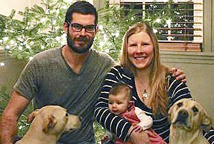 Adam Perron with his wife, Elizabeth Perron, and daughter, Abigail, in a family photo. Perron, 29, died in a car crash Wednesday, April 20, 2016, on Route 302 in Casco.