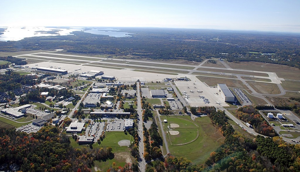 An aerial photo shows the runway at the former Brunswick Naval Air Station.