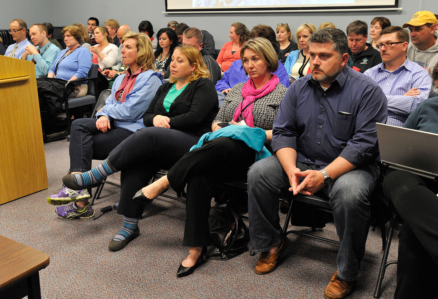 A crowd turned out for Monday night's meeting of the SAD 6 school board. A petition presented to the board calls for it to consider ending Superintendent Frank Sherburne's contract.