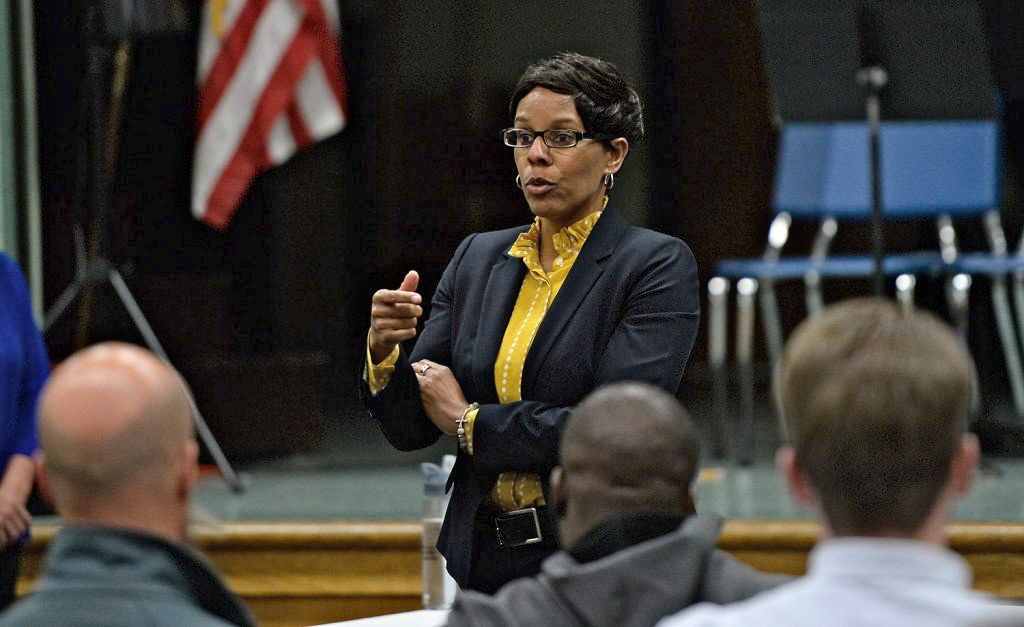 Teresa Lance of Colorado speaks at Tuesday night's forum at King Middle School in Portland. Lance is one of two finalist for the superintendent job in Portland. Shawn Patrick Ouellette/Staff Photographer