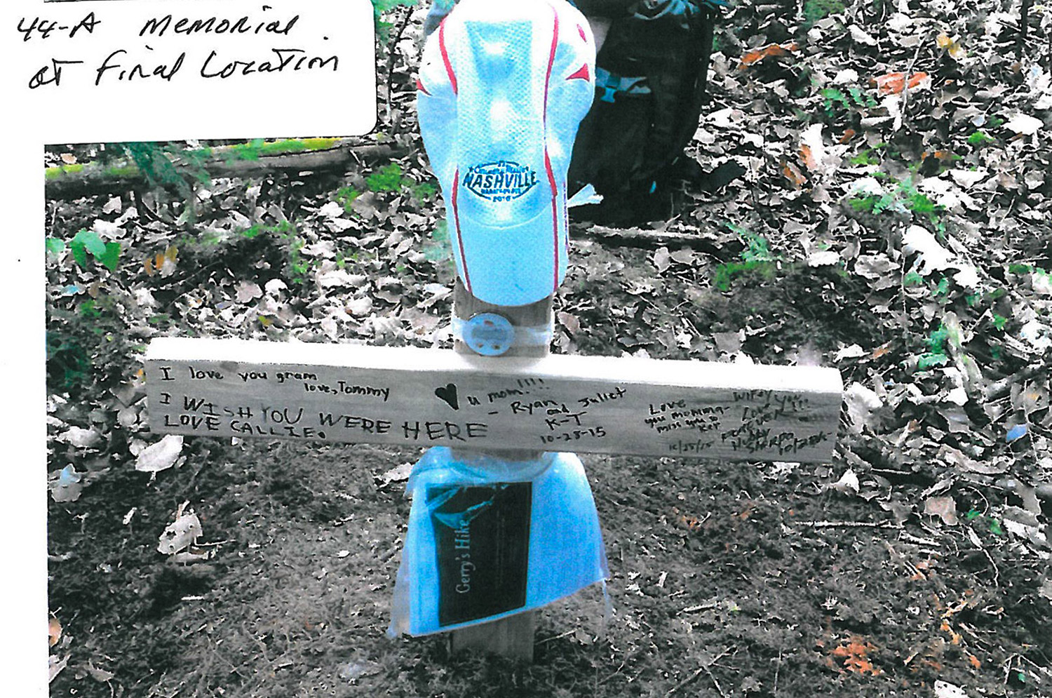 A memorial for Geraldine Largay was assembled at her final location, in the rugged woods of Franklin County.