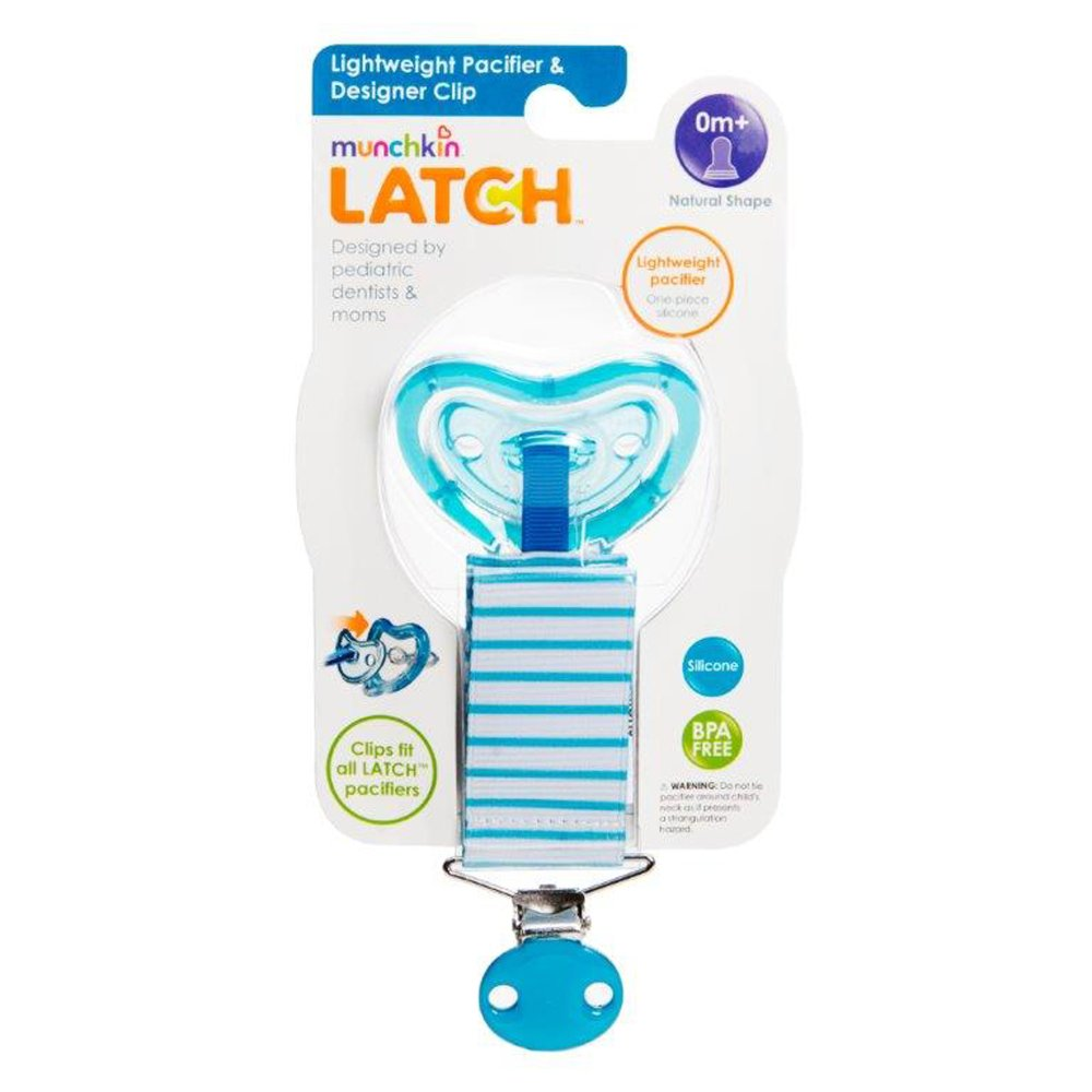 This image provided by the United States Consumer Product Safety Commission shows Munchkin-brand Latch lightweight pacifiers and clips, which are sold as a set.