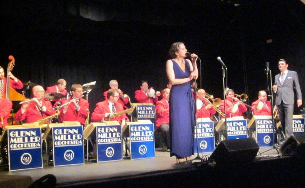 Singer Jennifer Porter with the Glenn Miller Orchestra Tuesday at the Saco River Theatre.