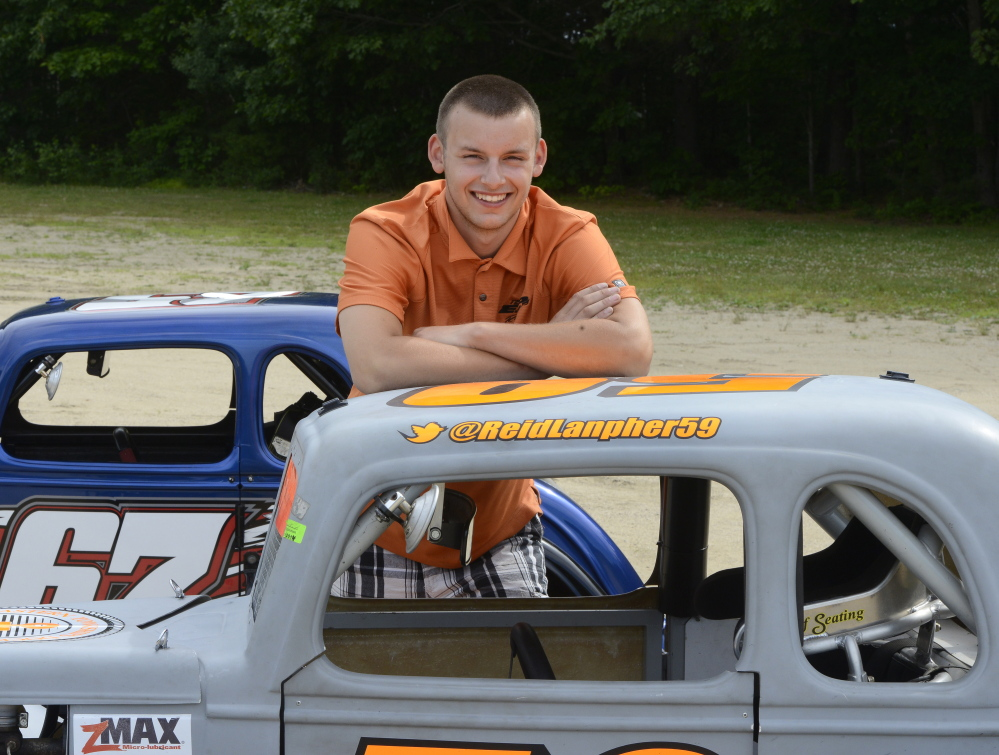 Reid Lanpher, shown in 2014 at Beech Ridge Motor Speedway in Scarborough, will get his associate degree this weekend from Thomas College and his high school diploma June 12 from Maranacook Community High School.