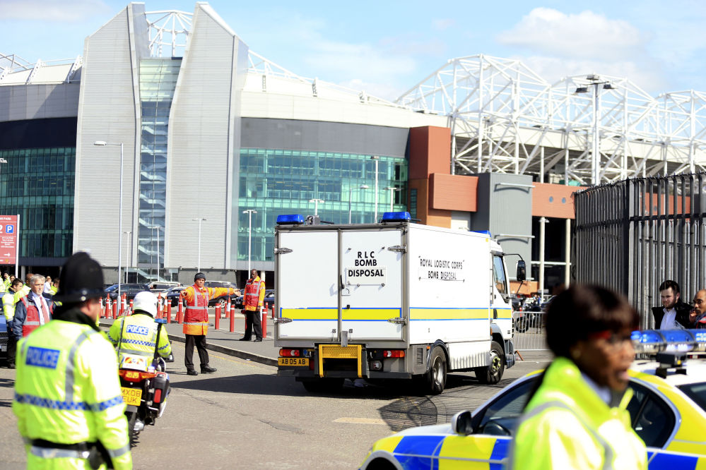 A police bomb disposal unit sits outside Old Trafford stadium after Sunday's final match of the season between Manchester United and AFC Bournemouth was abandoned due to a suspect package being found inside the stadium.