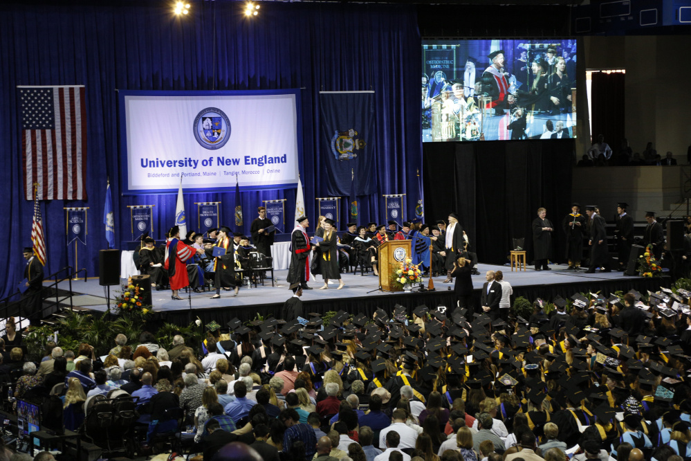 Graduates of the University of New England (UNE) collected their degrees in ceremonies at the Cross Insurance Arena in Portland on May 21, 2016.