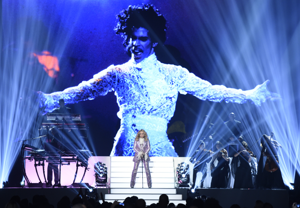 Madonna performs a tribute to Prince, pictured at the Billboard Music Awards at the T-Mobile Arena on Sunday in Las Vegas.