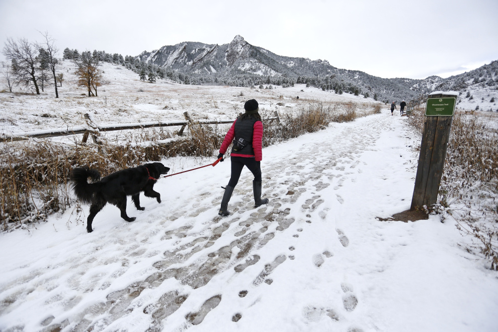 A woman walks her dog into local open space wildland at Chautauqua Park, in Boulder, Colo. Animal welfare advocates urge pet owners living at the edge of civilization to learn as much as they can about being safe and responsible neighbors to lions, coyote and bears.     The Associated Press