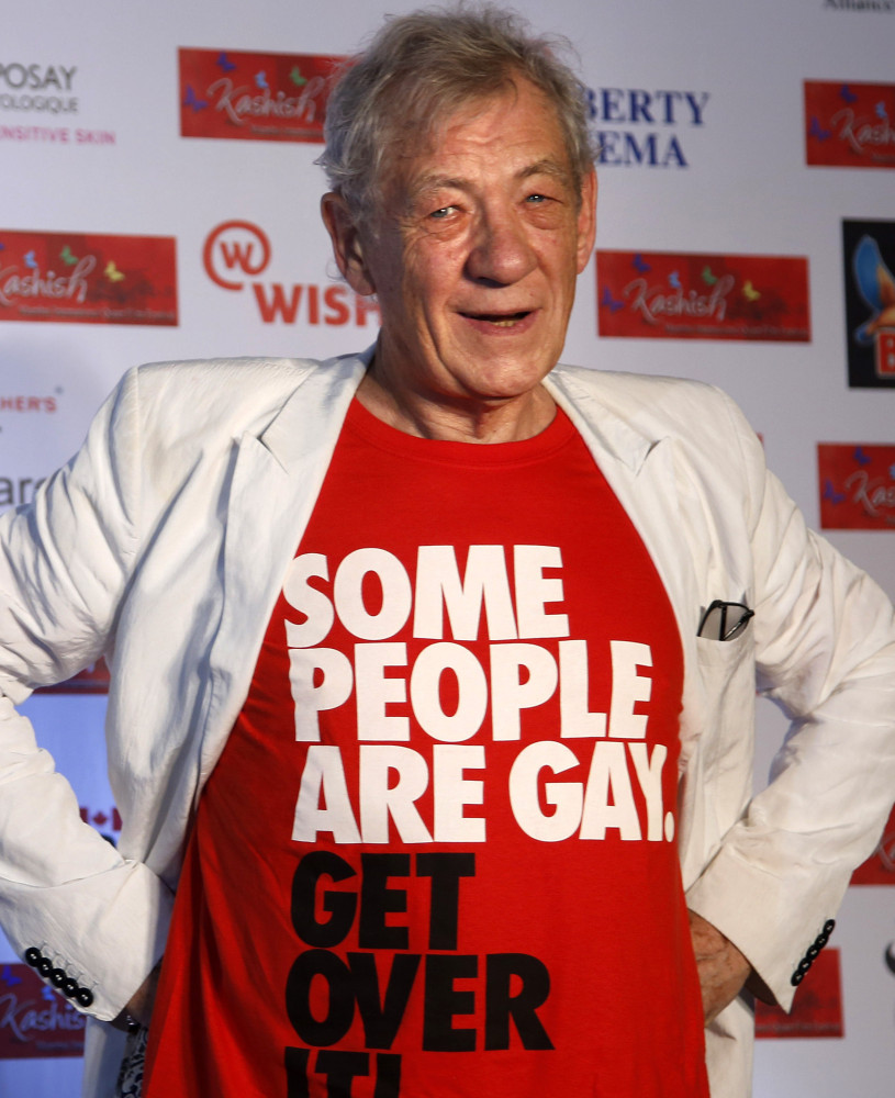 British actor Ian McKellen at the LGBT-themed Kashish Film Festival in Mumbai, India, Wednesday.