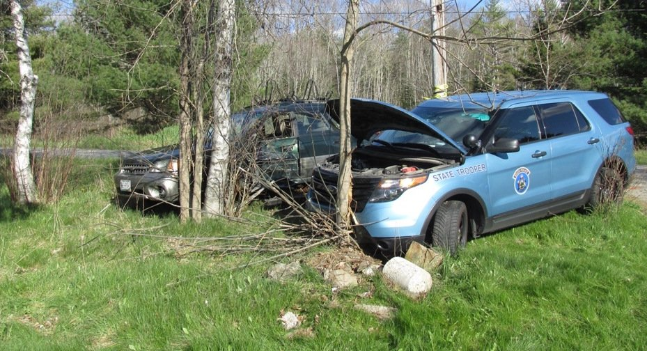 The impact of Tuesday's collision forced both cars off Sennebec Road in Appleton. Courtesy Maine State Police
