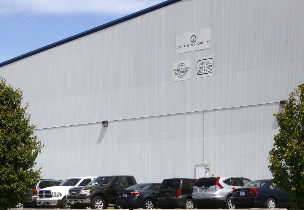 The CRF Frozen Foods plant, in Pasco, Wash., closed two weeks ago and  the company is still trying to pinpoint the source of the contamination.  Sarah Gordon/The Tri-City Herald via AP