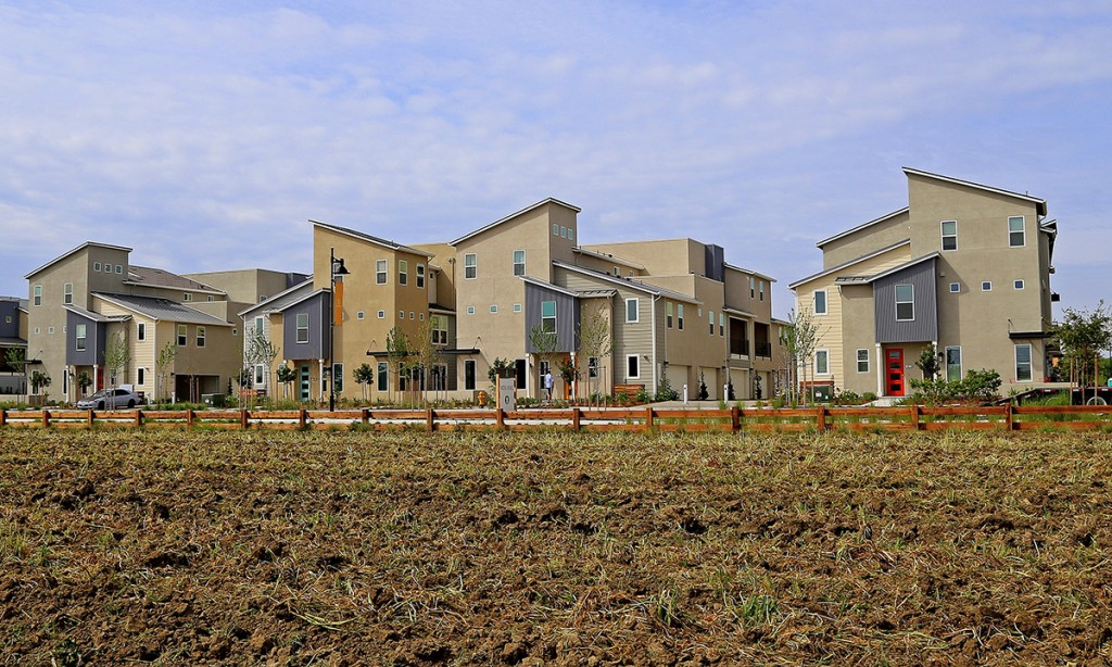 These townhomes – part of The Cannery development in Davis, Calif. – are built next to the fields of a small, urban farm that is a centerpiece of the community. The Associated Press