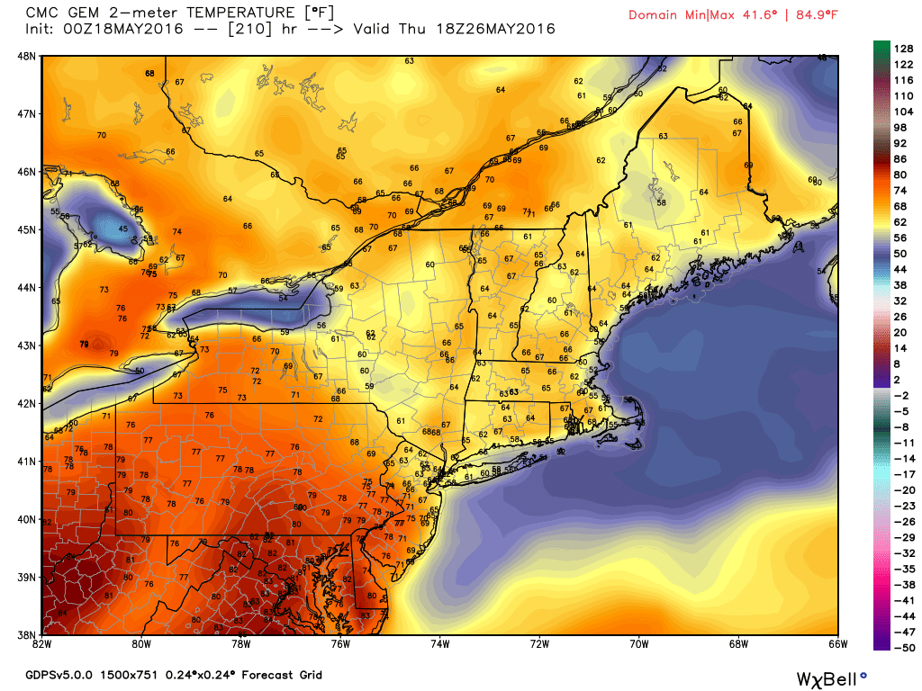 May 26th Canadian Model Temperature Forecast