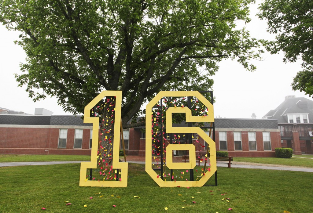 "SACO, ME - JUNE 5: A giant ""16"" adorned with paper tickets naming each graduate decorates the lawn at Thornton Academy. (Photo by Jill Brady/Staff Photographer)"