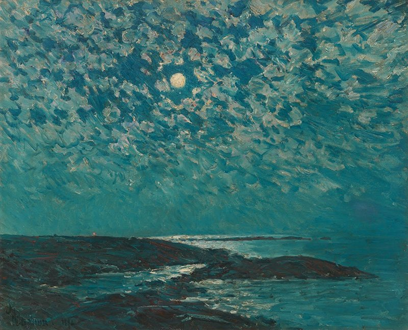 Moonlight, Childe Hassam, 1892Oil on canvas, 18 x 22 ½ in. (45.8 x 57.2 cm)Private CollectionPhotograph by Alex Jamison