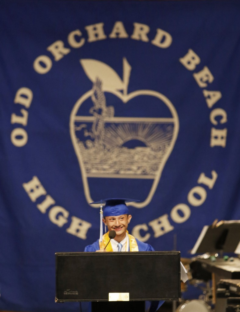 "OLD ORCHARD BEACH, ME - JUNE 5: Valedictorian Erik Hogan delivers his speech, ""Mimi's Best Boy,"" at Old Orchard Beach High School graduation.(Photo by Jill Brady/Staff Photographer)"