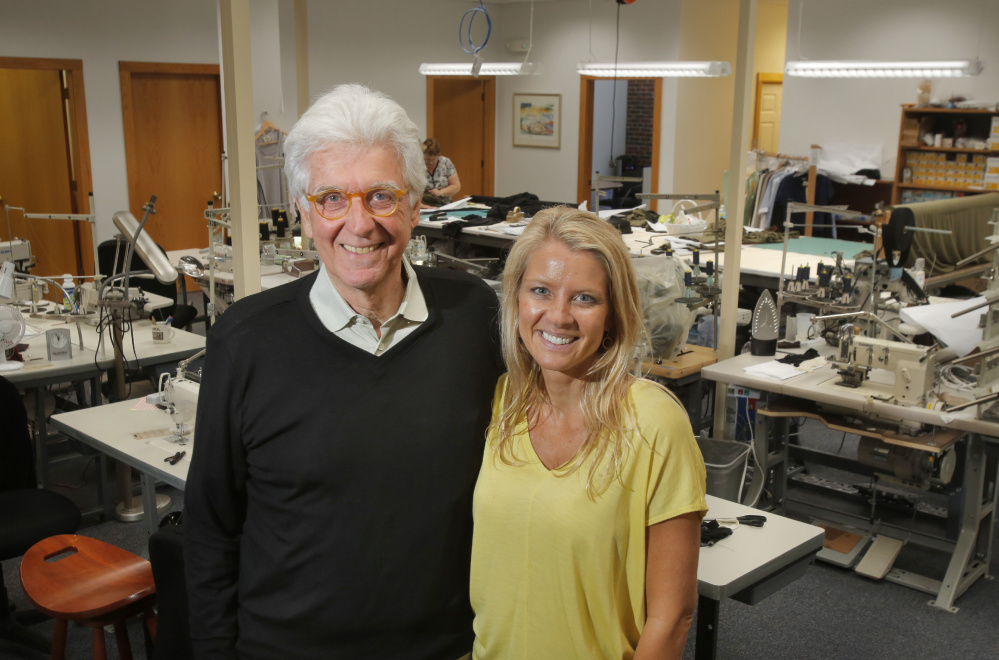 Tom Chappell, who founded Tom's of Maine, and his daughter Eliza in the production space for Ramblers Way Farm, which creates high-end wool clothing. Eliza is stepping up to take over leadership of the business.