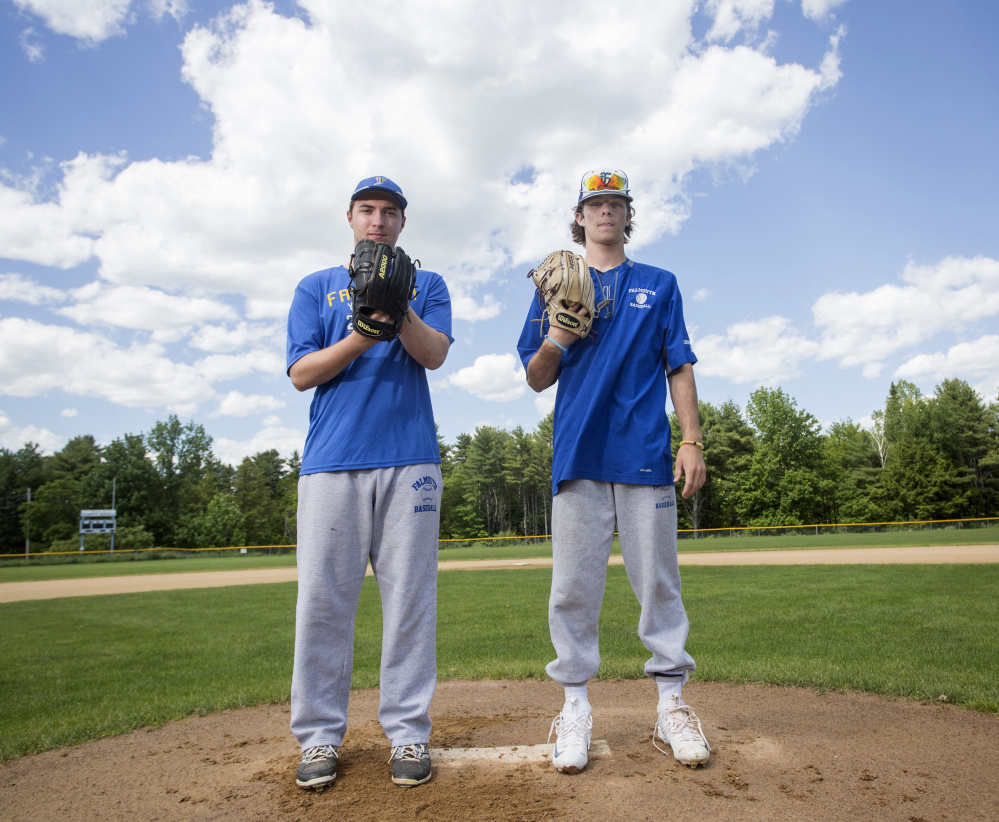 Falmouth pitchers Cam Guarino, left, and Reece Armitage have combined for a 17-0 record this season, including three consecutive one-hitters (two by Guarino) in the Class A South playoffs. The Yachtsmen face two-time defending champion Bangor in Saturday's state final.