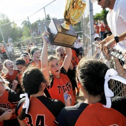 Biddeford players celebrate with fans after winning the Class A softball state championship Saturday at St. Joseph's College in Standish.