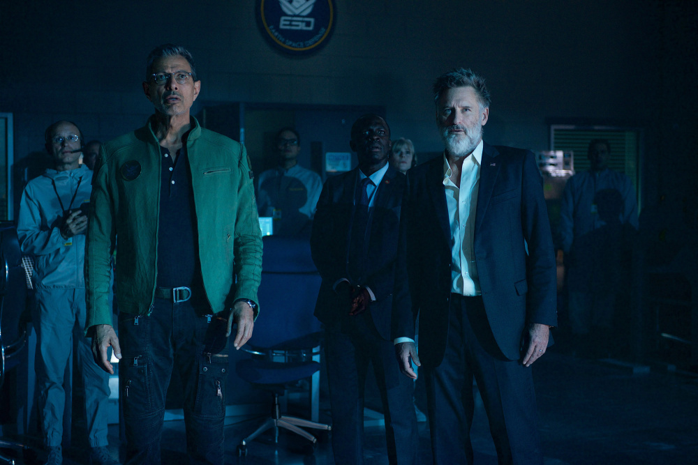 Jeff Goldblum, left, as David Levinson, and Bill Pullman, as former U.S. President Thomas Whitmore, make a shocking discovery in