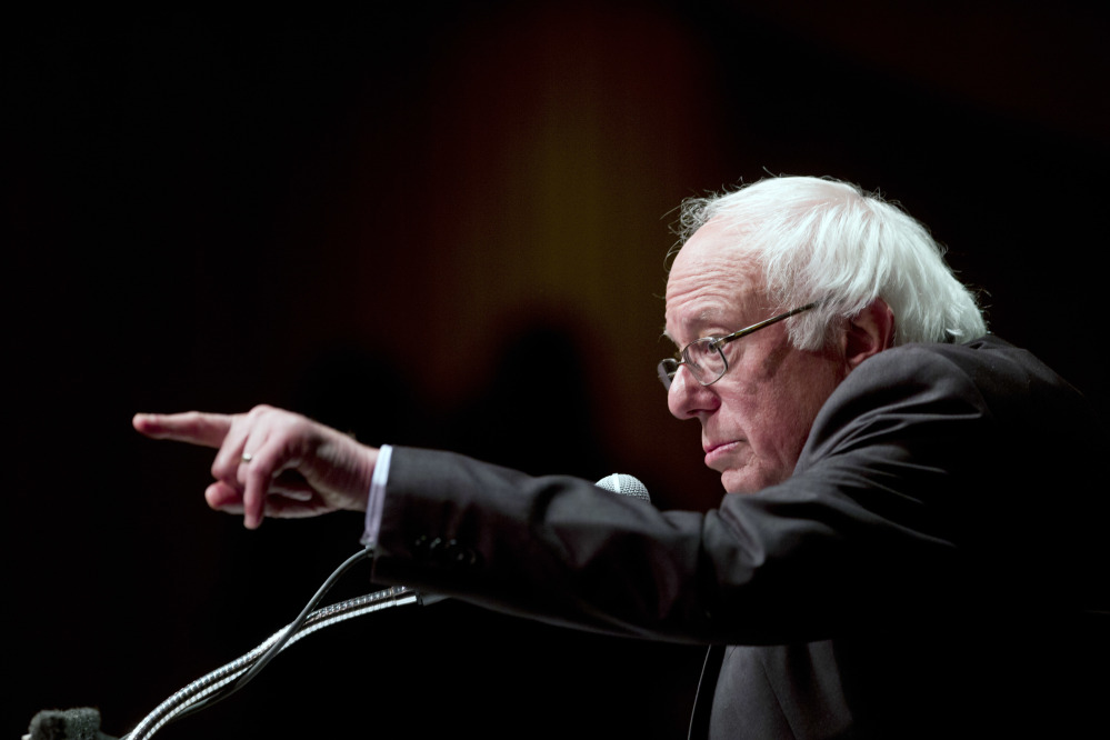 Democratic presidential candidate Bernie Sanders delivers his