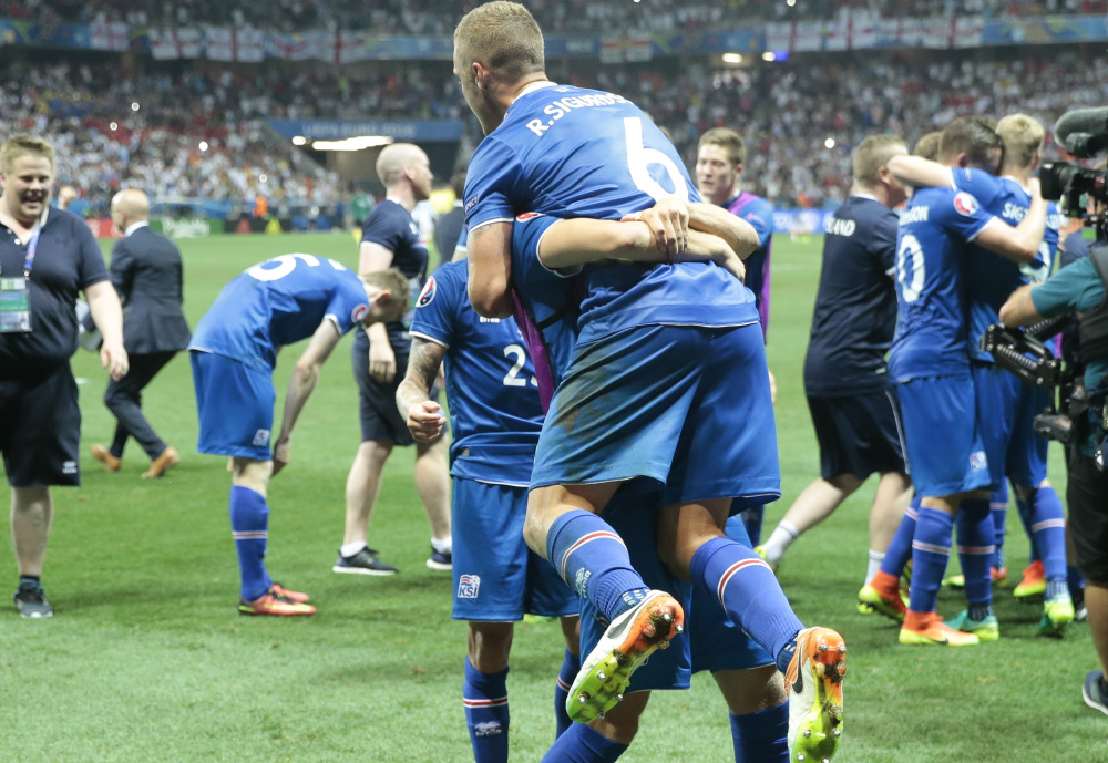 Iceland – the smallest country ever to qualify for the European Championships – took its journey a big step forward Monday, defeating England 2-1 and earning a spot in the quarterfinals against France, the host country.