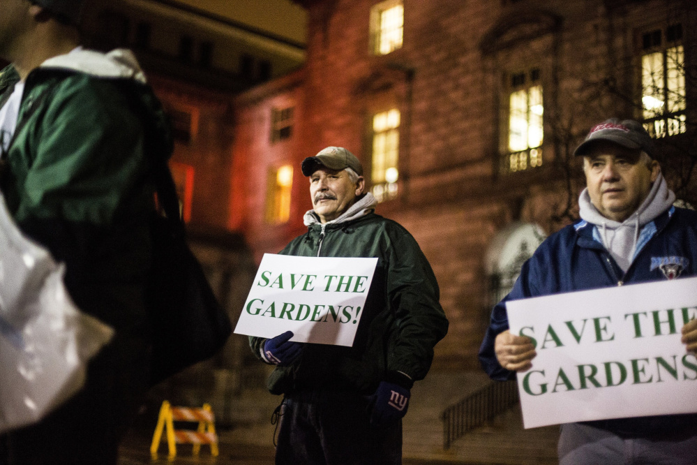 Rick Fortino of Westbrook, left, and Steve Defilipp of Portland urge preservation of the Forest Gardens tavern in February as the Historic Preservation Board met at City Hall.