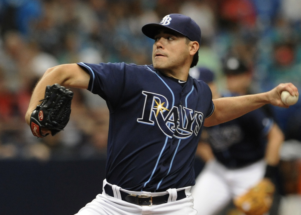 Tampa Bay starter Matt Moore limited the Red Sox to just three hits over seven shutout innings as the Rays beat Boston on Wednesday afternoon in St. Petersburg, Fla.