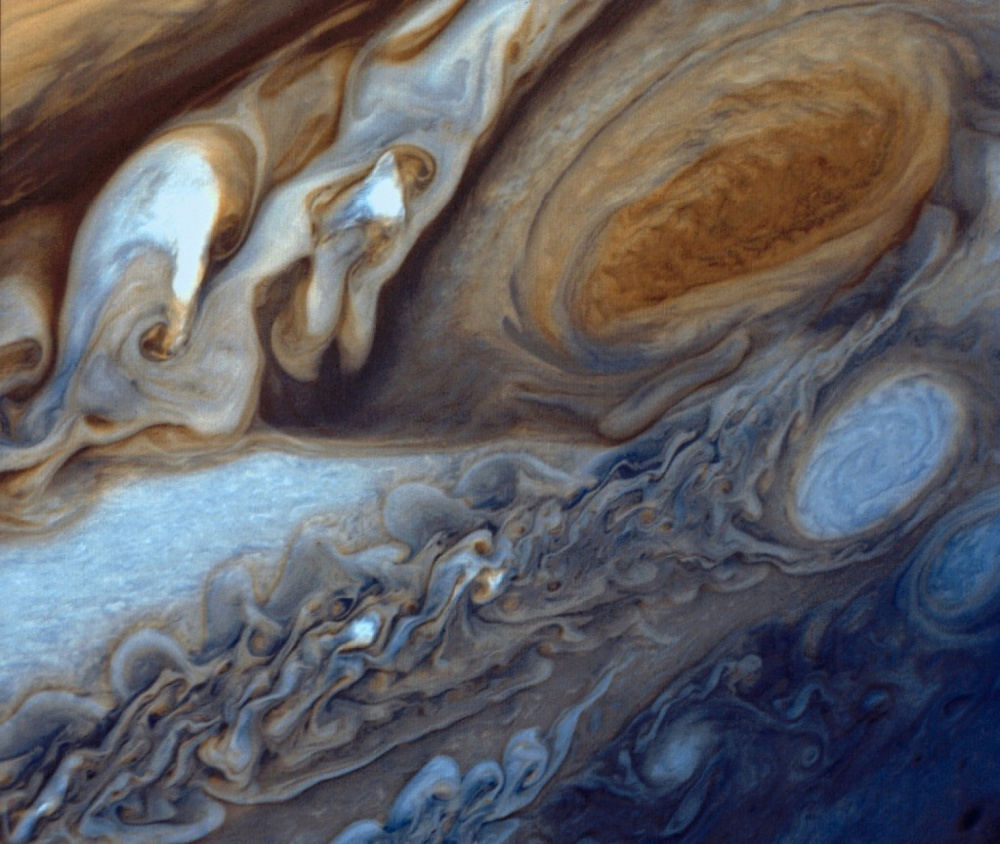 An image taken by the Voyager 1 probe shows Jupiter's Great Red Spot.