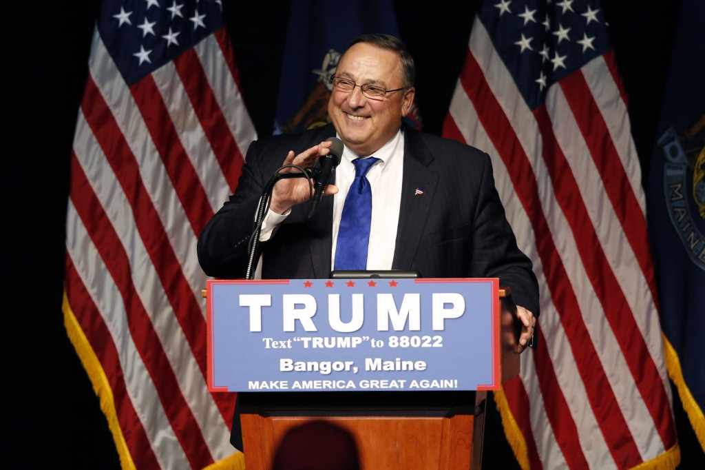 Gov. Paul LePage, seen speaking at last week''s campaign rally for Donald Trump in Bangor, says he won't go to the Republican National Convention in Cleveland unless Trump calls on him for help.