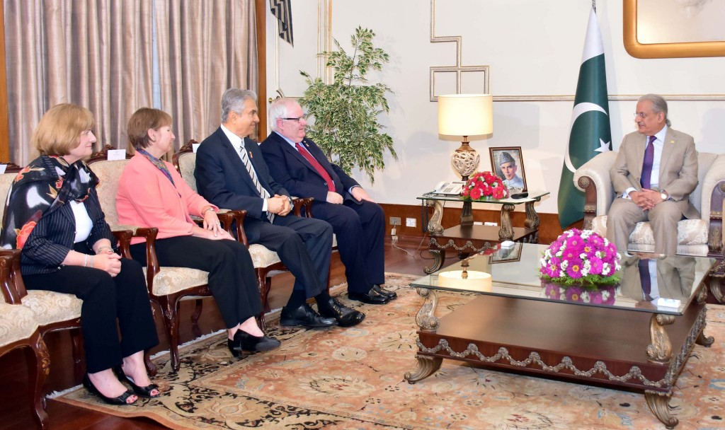 Cape Elizabeth Town Manager Mike McGovern, fourth from left, led a Rotary International delegation to Pakistan this week to discuss with Acting President Raza Rabbani, right, his country's efforts to help health workers administer polio vaccinations.