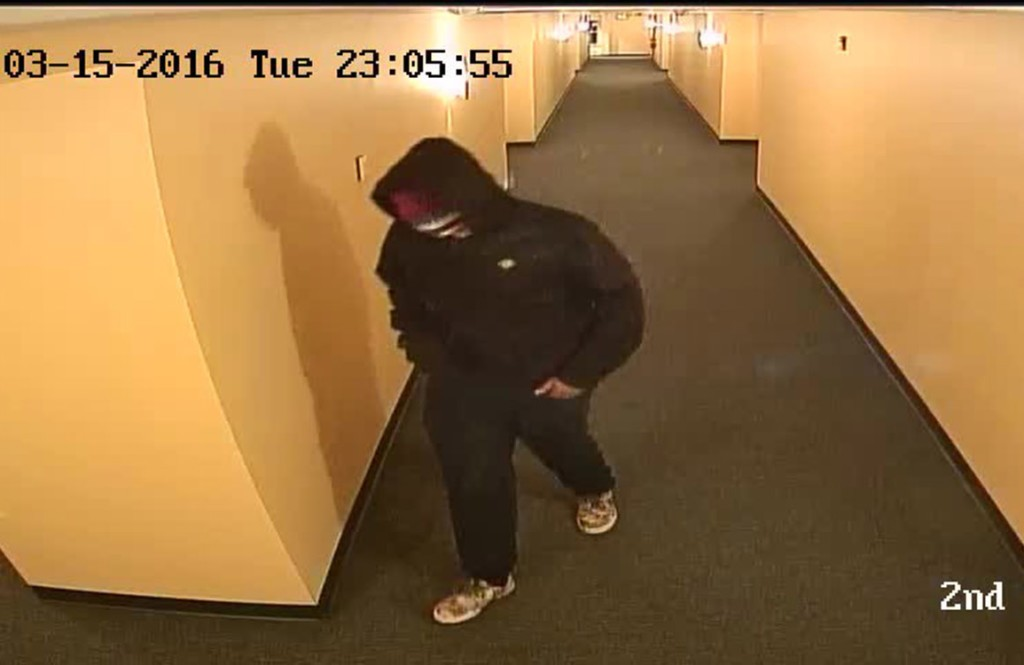 This image of a suspect in a fatal shooting in March at Shalom House in Portland was taken from a security video.