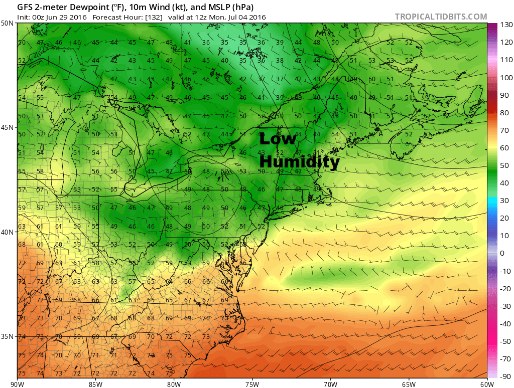 Low humidity is predicted for New England this weekend