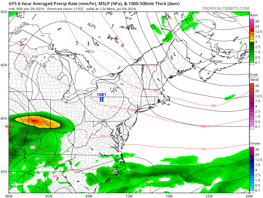 July 4th surface map