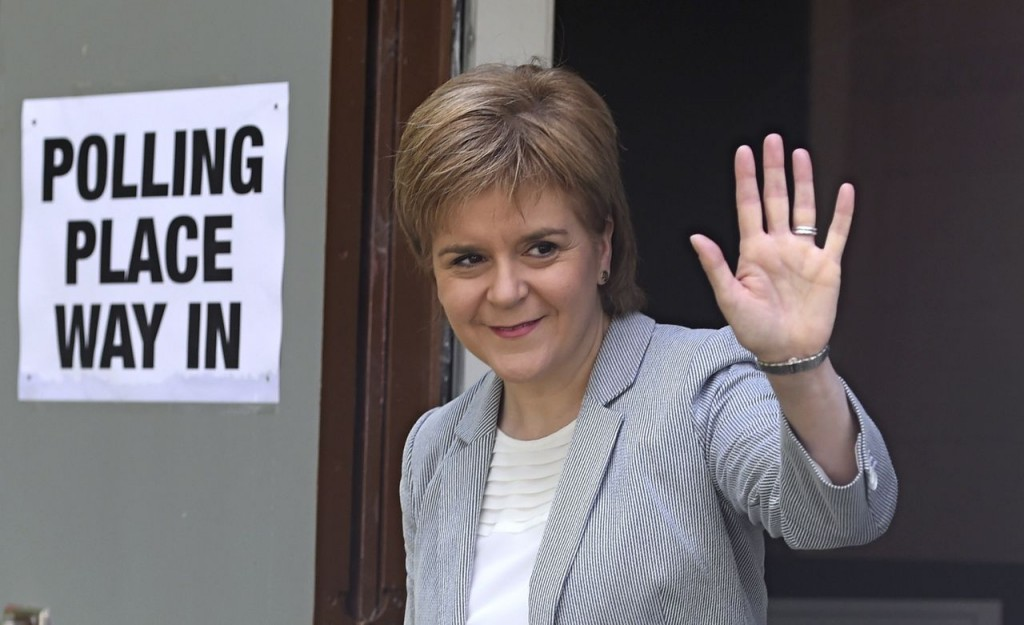 Scotland's First Minister Nicola Sturgeon leaves after voting in the EU referendum, at Broomhouse Community Hall in Glasgow, Scotland on Thursday. Sturgeon said in a statement early Friday that her country