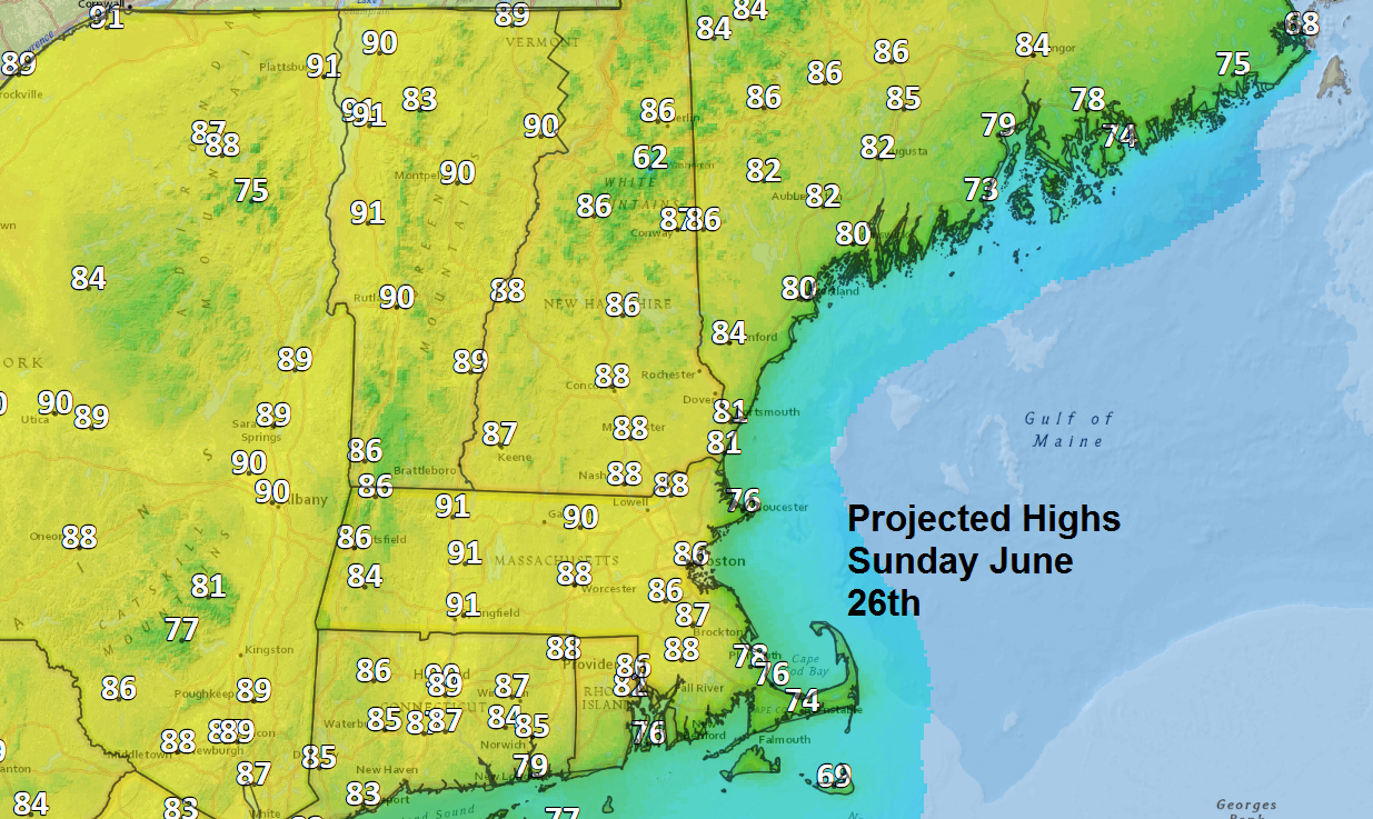A warmer day on Sunday with inland highs in the 80s