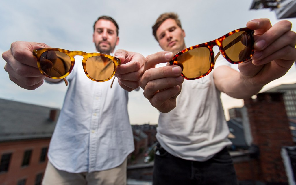 Daniel Dougherty of Yarmouth, left, and John Turner of Harpswell have drawn national attention for turning salvaged wooden lobster traps into designer sunglasses.