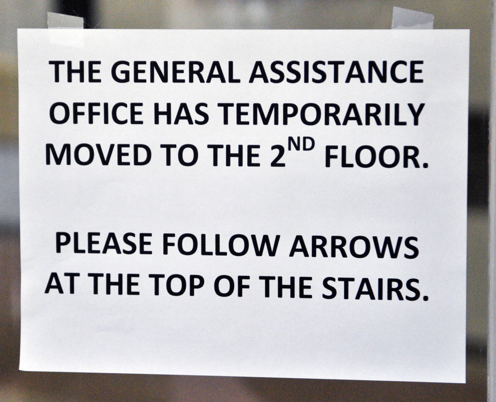 A sign directs visitors to Augusta City Center to the temporary location of the General Assistance office, which was moved Monday to allow for the eradication of bedbugs.
