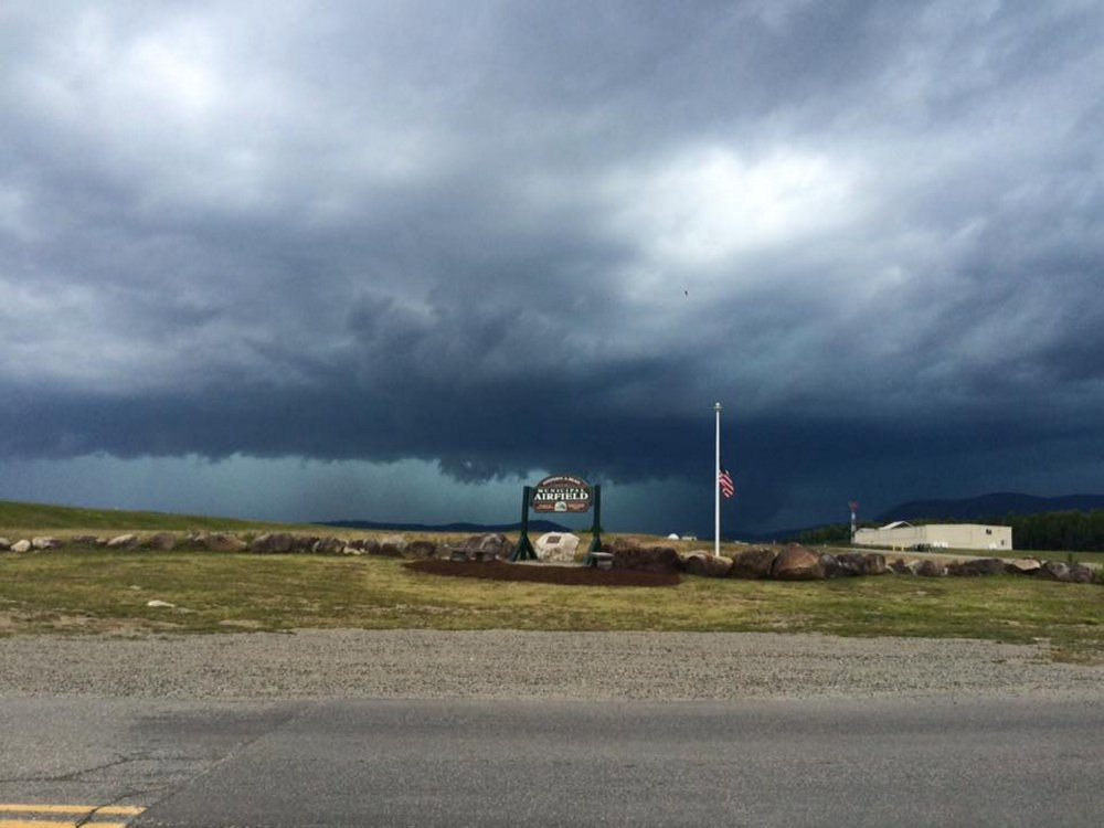 A photo provided to WCSH TV shows a severe thunderstorm passing through the Rangeley region Monday afternoon.