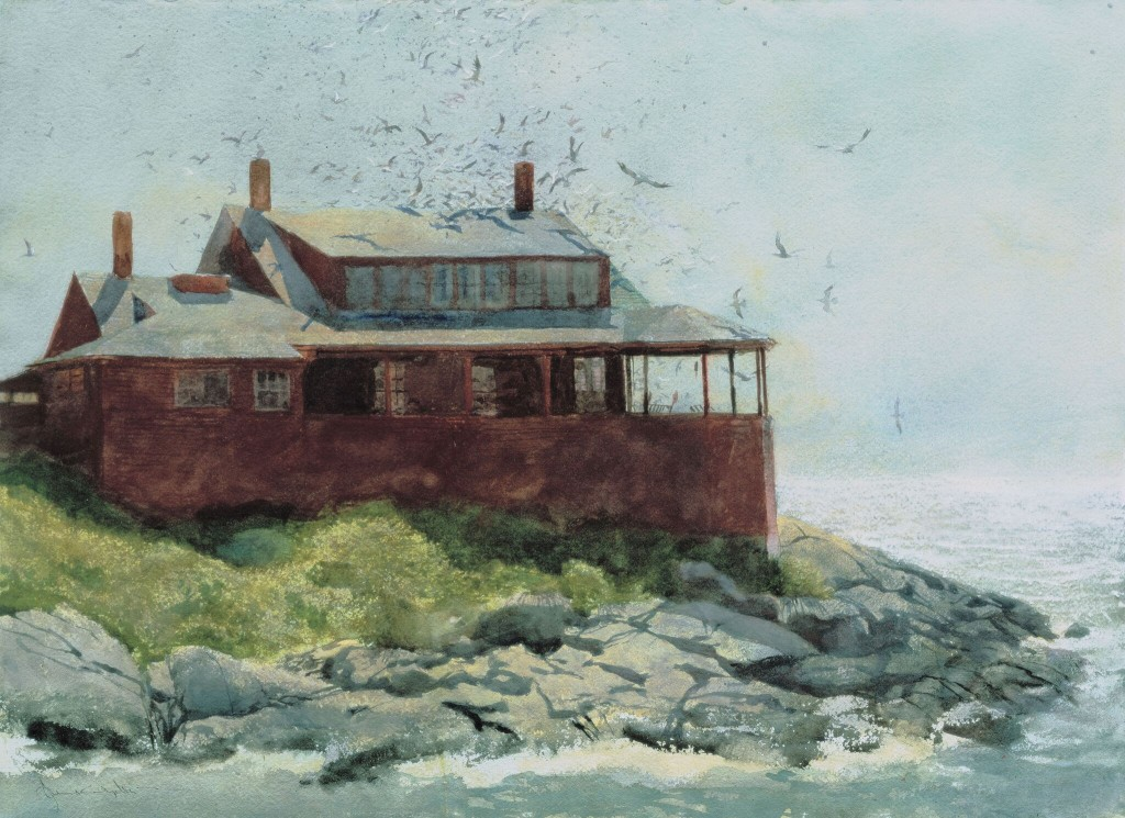 """Red House,"" 1972, watercolor, 19"" x 29"", Courtesy Phyllis & Jamie Wyeth"