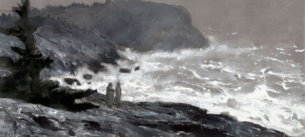 """Sea Watchers (Study),"" 2009, gouache, gesso, and watercolor on gray archival cardboard, 24"" x 53"", courtesy Phyllis & Jamie Wyeth"