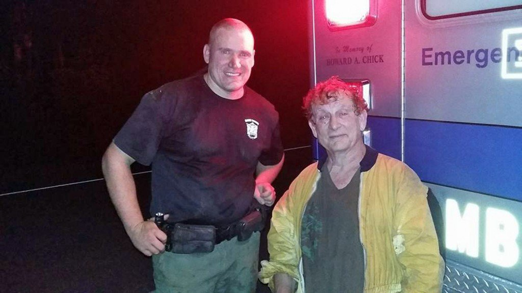 Fish and Game Warden Richardson and skydiver Peter Shikli, who was rescued Sunday night from York County swamp (Photo courtesy of Lebanon Fire-EMS)