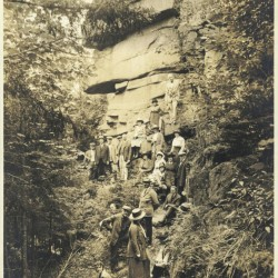 Rusticators on a hike in Acadia National Park, circa 1920, is among vintage images on view at the Maine Historical Society.
