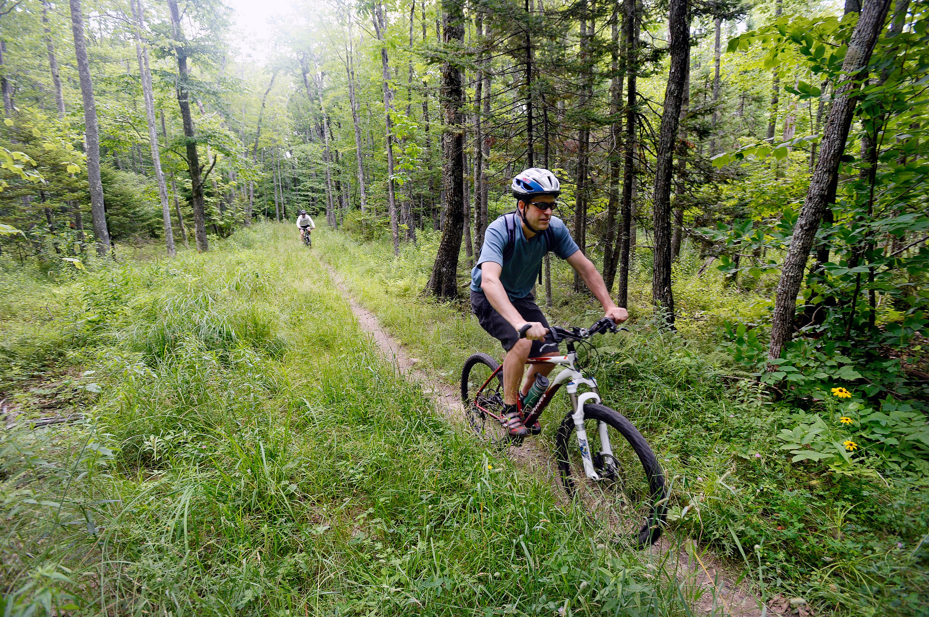 While some sections of the current trail system around Ragged Mountain are suitable for beginners, the expanded system is expected to have more terrain available for new riders. Shawn Patrick Ouellette/Staff Photographer