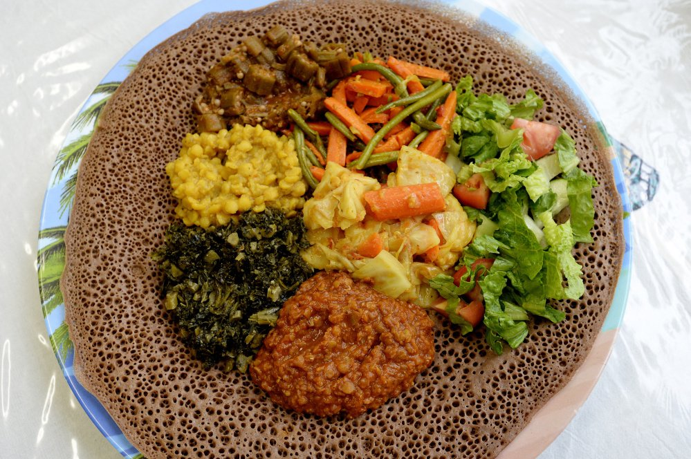 Vegetarian Sampler at the Red Sea restaurant in Portland. Shawn Patrick Ouellette/Staff Photographer