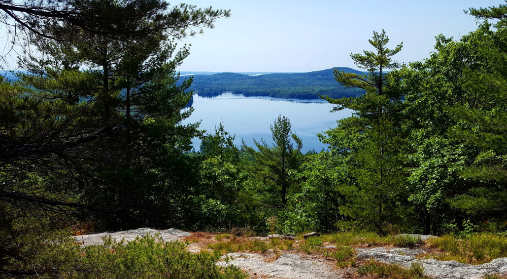 Bald Pate Mountain in Bridgton, part of Loon Echo Land Trust, offers an extensive trail network with numerous view points.